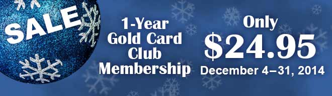 1/2 Off the Gold Card Club Membership