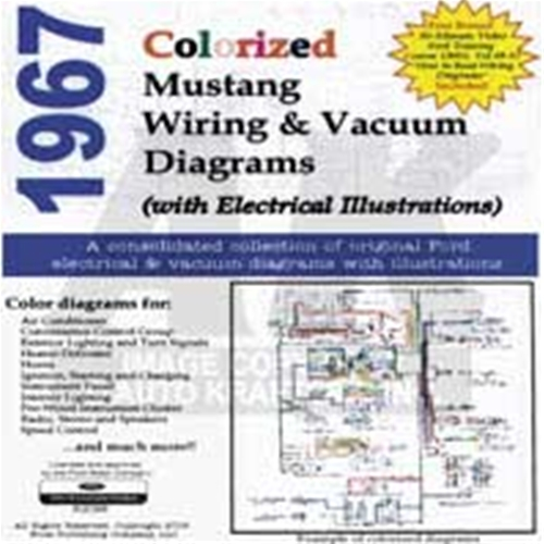 Cd Rom 1967 Ford Mustang Colorized Wiring Vacuum Diagram Cd10017