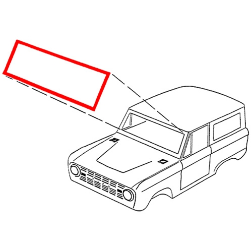 Windshield Weatherstrip without Moldings 1966-77 Bronco C6TZ-9603110B