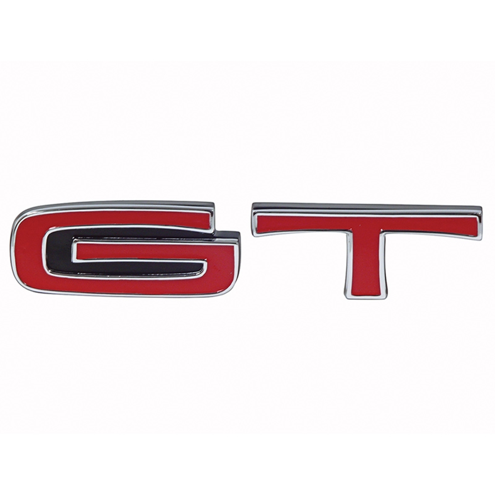 Emblem Grille G T  Ford Torino Ranchero Gt Triple Chrome Plated With Red Letters Front