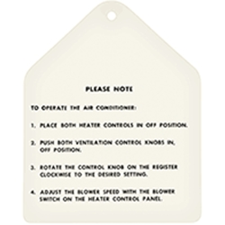 A/C OPERATING INSTRUCTIONS TAG 1960-63 FORD GALAXIE COUNTRY SEDAN SQUIRE 1960-62 RANCH WAGON 1960-61 FAIRLANE (DF1149)