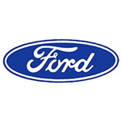 DECAL LARGE 9-1/2 INCH OVAL BLUE FORD SCRIPT LOGO ON CLEAR BACKGROUND (DF1390)
