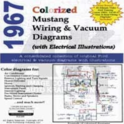 CD 67 MUSTANG COLORIZED WIRING/VACUUM DIAGRAM