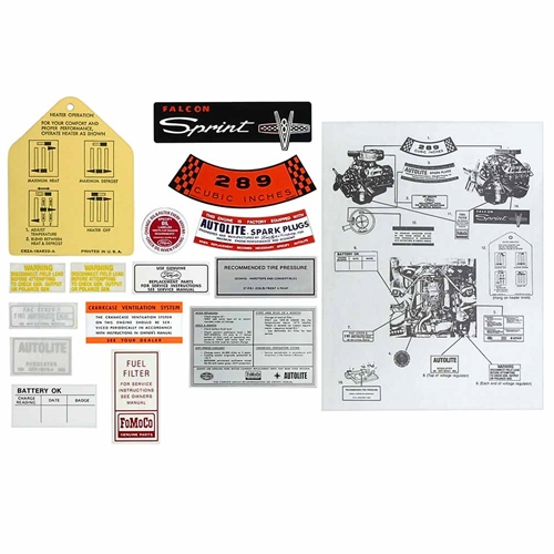 DECAL KIT 1965 FORD FALCON SPRINT 289 CID 8-CYLINDER V8 ENGINE 14-PIECE WITH INSTRUCTIONS FOR PROPER PLACEMENT (DK9)