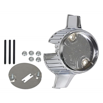 GRILLE ORNAMENT BEZEL 1966 FORD FAIRLANE 500 XL CHROME FINISHED INSERT HOLDER WITH BACKING PLATE & HARDWARE (C6OZ-8213)