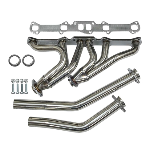 EXHAUST HEADER KIT 1960-83 FORD & MERCURY VEHICLES W/6-CYL GALAXIE MONTEREY STAINLESS STEEL POLISHED CHROME (ADHDS-L6)