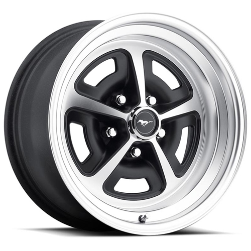 "MAGNUM 500 ALLOY WHEEL 64-73 FORD MUSTANG & MORE 5-LUG LEGENDARY 15"" X 7"" MACHINE FINISH SATIN BLACK INLAY (MAG15X7ALST)"