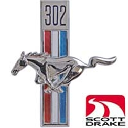 """302"" EMBLEM 1968 FORD MUSTANG HARDTOP FASTBACK AND CONV CHROME RUNNING HORSE ON RED WHITE BLUE STRIPES LH (C8ZZ-16229A)"