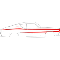"""C"" BODY-SIDE STRIPE KIT 1969 FORD FAIRLANE TORINO FASTBACK LH RH RELECTIVE VINYL TAPE DECALS BLACK (C9OZ-6320000RFB)"