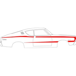 """C"" BODY-SIDE STRIPE KIT 1968 FORD FAIRLANE TORINO FASTBACK NON-REFLECTIVE VINYL TAPE DECALS LH RH RED (C8OZ-6320000RD)"