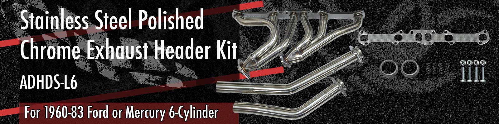 6-cylinder Stainless Steel Polished Chrome Exhaust Header Kit ADHDS-L6