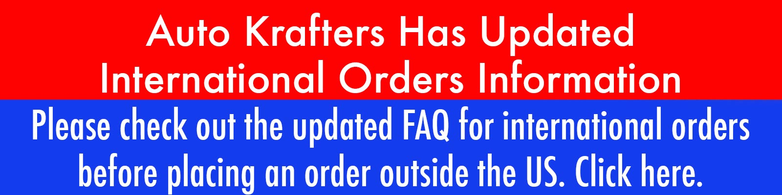 Updated International Order FAQ